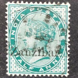 Zanzibar 1895-96, half a. Blue-green optd used