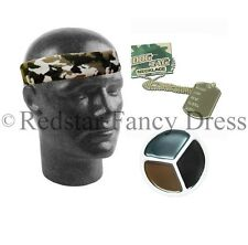 ARMY HEADBAND CAMOUFLAGE GREEN FANCY DRESS DOG TAGS FACE PAINT
