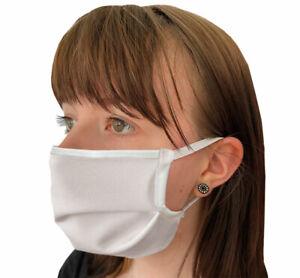 Mund-Nasen-Maske 2-lagig mit Ohrengummis, kochfest, 100% Baumwolle