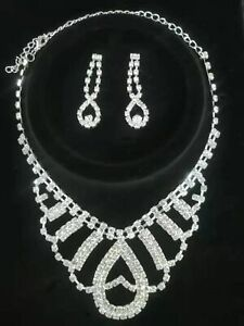 Frauen Mode Kristall Halskette Ohrringe Set Hochzeit Braut Brautjungfer exquisit