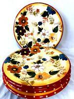 "ONEIDA Kitchen Sunset Bouquet Set Of 4 Dinner Plates 10 1/2"""