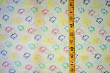 EMBROIDERED BUNNIES WHITE  SHEER CHIFFON 100%  POLYESTER FABRIC BY THE 1/2 YARD
