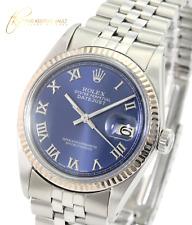 Rolex Mens Datejust  Stainless Steel  Blue Roman Dial Fluted Bezel 36mm Watch