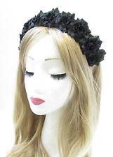 Black Rose Flower Hair Crown Headband Garland Silver Small Festival Boho Vtg V35
