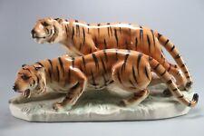LARGE Porzellanfabrik Julius Griesbach PM&M LARGE  PORCELAIN GROUP OF TWO TIGERS
