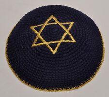 50 x Embroidery Black & Gold Magen David Kippahs Hand Made From Jerusalem.