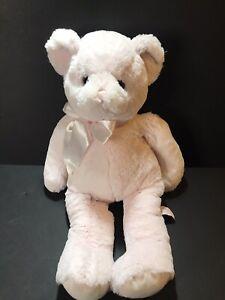 "Bearington Baby Collection Pink Teddy Bear w/Bow Stuffed Animal Plush 18"""