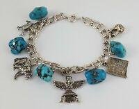Vintage Navajo Charm Bracelet Sterling Silver Turquoise Howlite