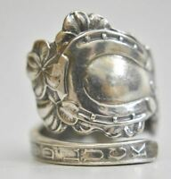 Horseshoe spoon ring whirling logs Good Luck sterling silver Size 6.50