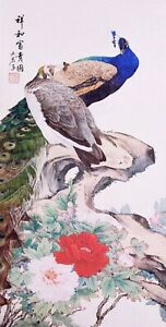 ORIENTAL ASIAN FINE ART CHINESE FLORAL WATERCOLOR PAINTING-Peacock birds lover