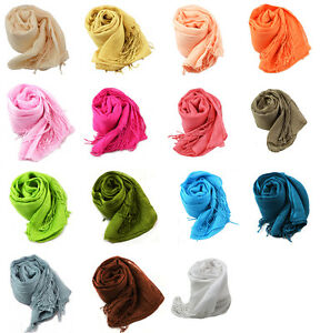 Cotton Solid Colour Fringed Soft Scarves for Ladies Women