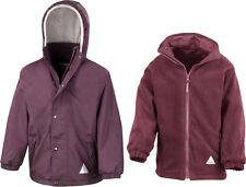 Result Girls Kids Hooded Fully Waterproof Reversible Jacket With Fleece Inner 2-3 Years Burgundy