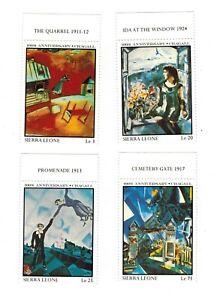 VINTAGE CLASSICS - Sierra Leone - 100th Anniversary Chagall II - Set of 4 - MNH