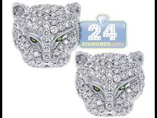 Leopard  shaped 925 silver stud earrings butterfly back jewellery present gift