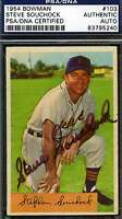 Steve Souchock Psa/dna Signed 1954 Bowman Authenticated Autograph