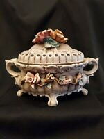Beautiful Vintage Capodimonte  Flower Covered Bowl Candy Dish Compote Italy