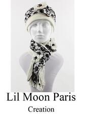 Luxus Set Mütze Schal Paris Hut Wollmütze Wintermütze Französisch Creation Weiß