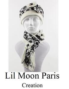 Set Berretto Sciarpa Paris Cappello di Lana Invernale Francese Creation Bianco