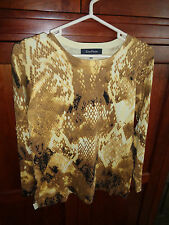 Evan Picone Yellow Print L/S Stretchy Top NWOT Med Honey Comb Design