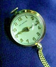 """1940s IMPERIAL Swiss 3/4"""" Necklace BALL ORB Pendant Watch & 32"""" Gold Plate Chain"""