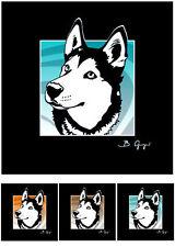 ((( Siberian Husky ))) Hund Bild 3-teilig pop-dogs Portrait Foto Bilder Pop Art