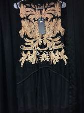 """O&Y"" Women's Sleeveless Long Full Party Evening Black/Gold Dress Size L - New"