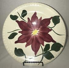 "VTG Blue Ridge Southern Potteries 9.25"" plate Green & Burgundy Flower pattern ~"