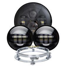 """Black 7"""" LED Headlight 4.5"""" Fog Light Mounting Bracket Kit for Motorcycle Bike"""