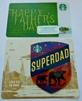 STARBUCKS Gift Card - FATHERS DAY 2015 & SUPER DAD 2018 - LOT of 2 - No Value