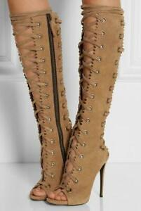 Womens High Heel Knee High Boots Lace Up Hollow Out Peep Toe Sandals Shoes Clubs