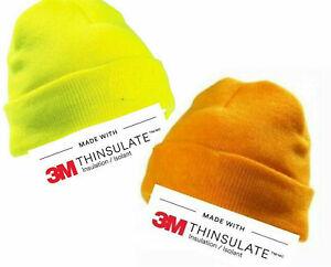 THINSULATE HI VIS Beanie Cap YOKO VIZ Warm Hat Reflective Dayglow Orange Yellow