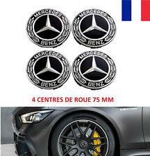 4x Cache Moyeu MERCEDES Noir FULL BLACK Logo 75mm Centre Roue jante Laurier Neuf