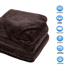 """Fleece Blankets Sonoro Kate Soft Warm Queen Size 90"""" x 90"""" Inches Coffee New"""