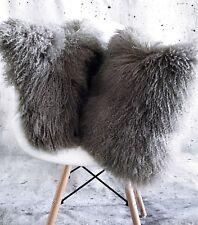 Luxus Kissen Tibet Lammfell Mongolisches Sheepskin Stone grau 45x45 cm