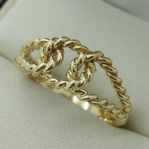 9ct Yellow Gold Rope Knot Ring, Finger Size N 1/2