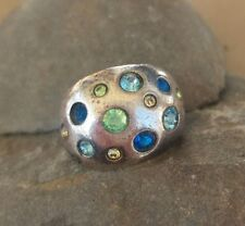 Guess Sterling Silver Multi-Color Stone Dome Ring Size 5.5