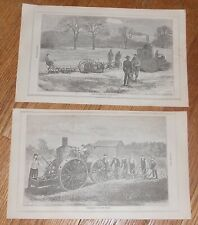 Lot of 2 Antique 1871 Prints of Steam Traction Engine Steam Plow Printed in 1871