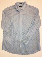 Hawker Rye Polka Dot Slim Fit Long Sleeve Button Down Shirt Men's XL Blue