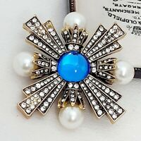 Vintage Style Gold Diamante Pearl Maltese Cross Royal Blue Cabochon Brooch Pin