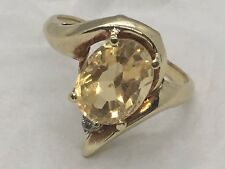 Pretty 3 Carat Citrine and Diamond Accent Ring 10K Yellow Gold in a Size 6