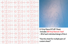 Vinyl Stencil Designer LV Airbrushing/Paint Stencil for Custom Shoes (120 TOTAL)