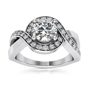Halo Twist 1.31 Carat SI/G Round Diamond Engagement Ring 14K White Gold Enhanced