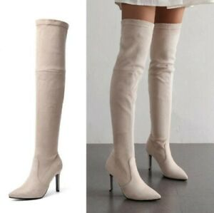 Womens Pointy Toe Over Knee Thigh High Boots High Heel Stretch Boots Sexy