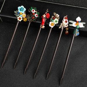 Chinese Style Wooden Hair Chopstick Stick Pin Handmade Tassel Flower Hairpin
