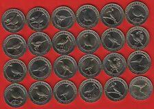 """Turkey set of 24 coins: 1 kurus 2019 """"Anatolian Birds"""" BiMetallic UNC"""
