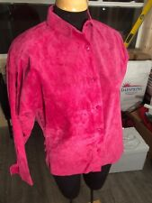 I Magnin Malia Fine 100% Leather Pink Long Sleeve Shirt Jacket Women's Medium