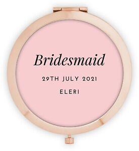 Personalised Bridesmaid Gifts, Bridesmaid Mirror, Rose Gold Thank You Keepsake