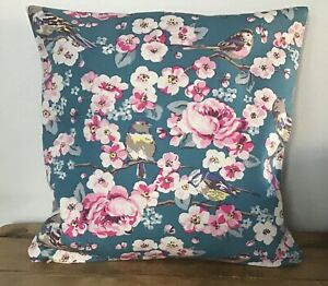 "Handmade Cushion Cover Cath Kidston Meadow field Birds Zip Closure 16"" Quality"