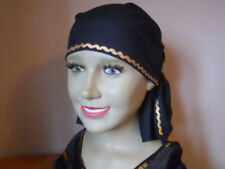 LADIES COTTON BANDANA BLACK WITH GOLD WAVE TRIM- BALD, CHEMO, BEACH