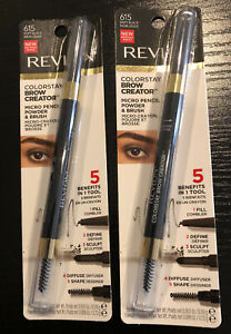 2 Revlon Colorstay Brow Creator Micro Pencil Powder & Brush #615 Soft Black New